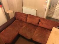 Red leather corner sofa + free delivery