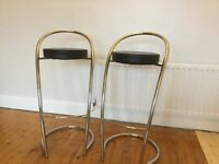 Chrome and black leather breakfast bar stools