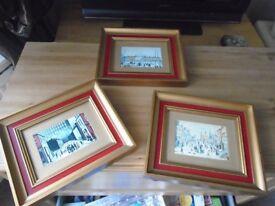 Lowry Scenes framed prints x3