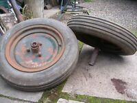 pair of wheels and tyres.