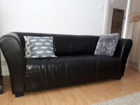 3 seater chocolate brown leather sofa in great condition