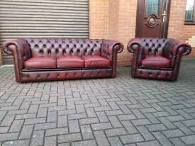 Chesterfield genuine oxblood leather 3+1 EXCELLENT CONDITION!BARGAIN!