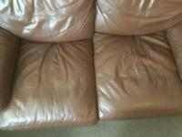 2 leather sofas from dfs some wear and tear still plenty of life left in them