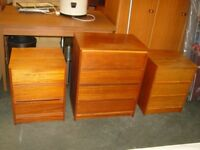 Chest of Drawers with Matching Pair of Bedside Cabinets