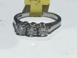 #153 18K BEAUTIFUL TRINITY RING WITH EUROPEAN CUT DIAMONDS *SIZE 5 1/4* JUST BACK FROM APPRAISAL AT $3150.00