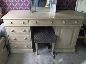 Shabby chic dressing table with matching upholstered stool