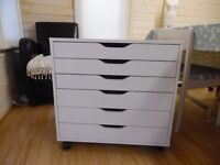 IKEA ALEX white 6 drawer unit on castors fits A2 sized paper, perfect in a home office.
