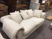 Cream 2 seater sofa for stool with storage and puffy