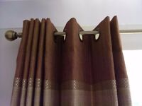 Quality Eyelet Curtains Brown Gold Fully Lined 72""
