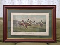 Polo Horses Hand-Painted Lithograph with Mahogany & Gold Frame