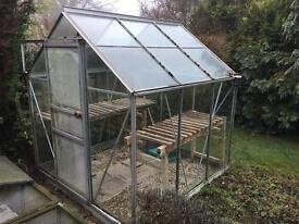 6ft x 6ft aluminium glass greenhouse, couple of cracked panes, wooden frames included