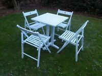 garden table+4 folding chairs