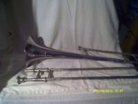 "A TROMBONE in SILVER PLATE by "" BESSON "" ( ENGLAND ) in SUPER CONDITION SLIDES PERFECT"