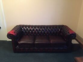 3 piece red leather chesterfield suite. Almost brand new
