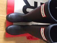 HUNTER Black Original Tall Wellington Boots - womens UK size 5