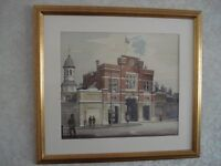 Watercolour of Beresford Square Arch, Royal Arsenal, Woolwich, signed Chapman 1974. 56.5 x 52cm.