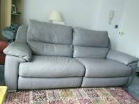 3 seater leather reclining settee
