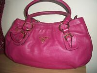 AUTH PRADA*BEAUTIFUL LARGE CORAL/PINK SOFT LEATHER