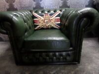 Fantastic Chesterfield Club Arm Chair in Green Leather - Uk Delivery