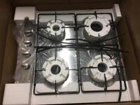 CDA 60cm stainless steel gas hob, brand new (boxed)