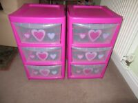 Pink plastic storage draws x 2
