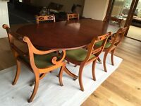 Regency style Yew wood Dining Table with chairs