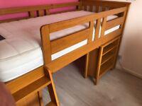 Harvey sleep station pine oak stain, left hand ladder, vgc with vgc Silentnight mattress