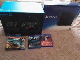 PS4+BRAND NEW Logitech Driving Force G29 + 3X games