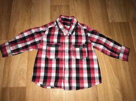 Matalan red check shirt 6-9 months