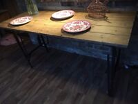 Pine Vintage Table Industrial chic Rustic Tressel Table Dining table