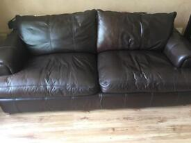 Leather sofa set with footstool