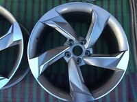 """NEW 4x 18"""" inch Audi Rotor Twist Arm Alloy Wheels BLACK A3 A4 A5 RS3 RS4 RS5 RS6 S5 S3 S4 TTRS lex33"""