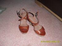 Bertie Tan Leather Sandals size 4