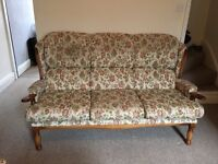 3 seater sofa with armchair and footstool