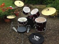 CB Drum Kit 5 Piece with Double Bass Pedal and Remos