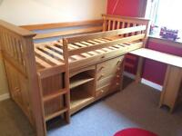 Solid pine cabin bed, attached desk, drawer unit, cupboard