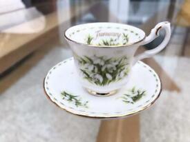 "Royal Albert Miniature ""January"" Snowdrops Cup & Saucer"