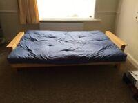Fold down sofa bed, wooden frame, blue mattress