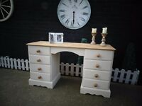 SOLID PINE FARMHOUSE DOUBLE DRESSING TABLE PAINTED WITH LAURA ASHLEY CREAM COLOUR