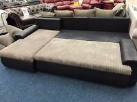 Campania Jumbo Left Hand Corner Sofa Bed Charcoal / Black