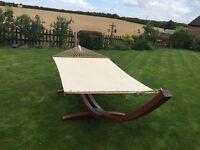 Hardwood quality double or single garden hammock.