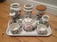 Small collection of Portmeirion pottery and tray.