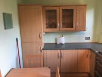 Beech Shaker Kitchen Units (B&Q) and Integrated Fridge Freezer