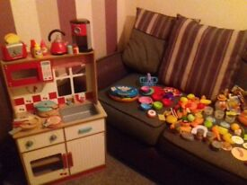 Childrens wooden play kitchen and accessories