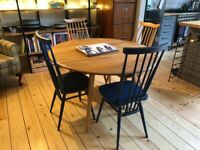 Ercol drop leaf blonde and light elm dining table and chairs