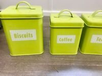 Newly bought , glossy , striking contemporary green canister set for Tea , Coffee , Sugar ,Biscuit