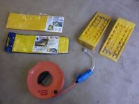 Camping Mains cable, reel and connectors, levellers and grip tracks