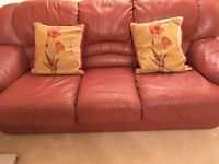 Full high grade leather treated sofas 3 seater and a 2 seater terracota