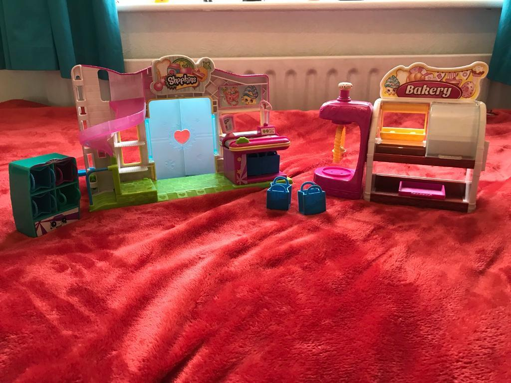 Shopkins playsets - Supermarket, Bakery and mini cupboard