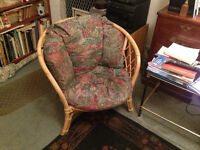 2 x Living Room Wicker Armchair Chairs with Cushions Set of 2 Reading Gardens